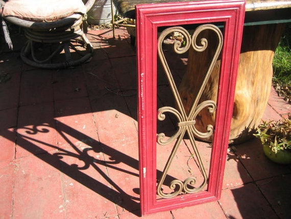 Vintage Transom Window Frame & Screen: Red Wood Frame and Iron Scrollwork