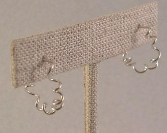 Small Spiral Hoop Earrings, Silver Spiral Hoops