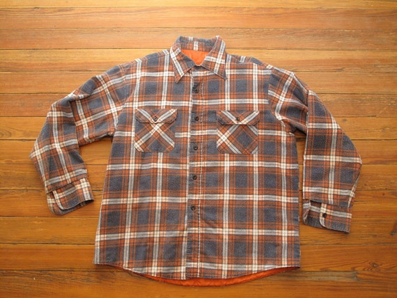 mens vintage quilted lined flannel shirt