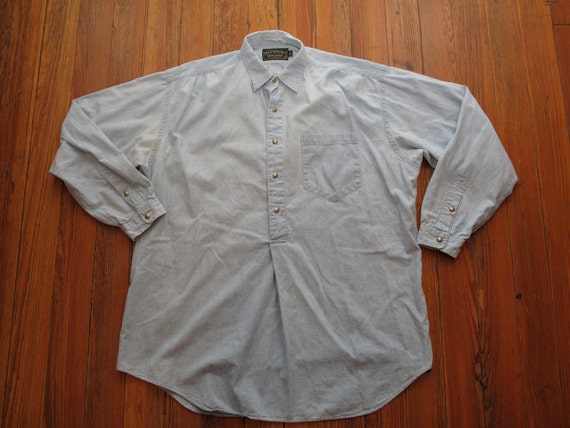 mens vintage polo country chambray pop over work shirt