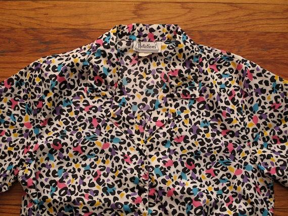 women's vintage colored leopard blouse.