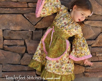 Plum Creek Prairie Girls Apron Dress sewing pattern tutorial PDF childrens clothing for kids babies child INSTANT DOWNLOAD
