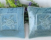 Sea Turtle Stamp Plate (set of 2) Blue Stoneware