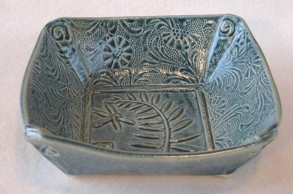 Dragonfly Fern Bowl Blue