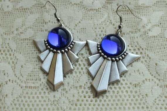 Art Deco - Blue Night Sky - Glass Earrings