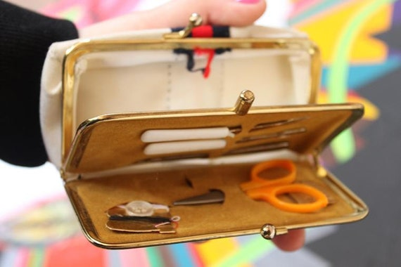 SALE - Vintage Wallet With SEWING Kit & MIRROR - Danish Design.