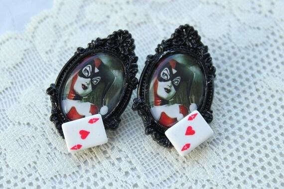 Harley Quinn Earrings / Studs - Gotham Vixen Jewelry