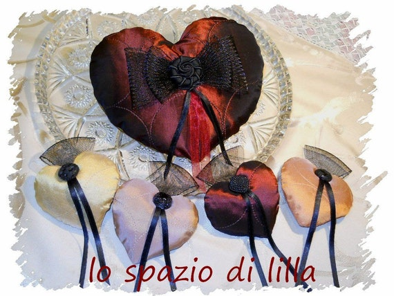 Heart, coeur,corazon,OOAK Valentine's  Stuffed handmade satin hearts,red hearts with black bows and vintage buttons, Valentine's Hearts,