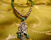 Flying Elephant Green, Purple and Blue Necklace