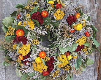 18 inch wreath with Orange, Yellow and Red