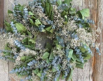 20 inch Lemon Leaf, Eucalyptus and Baby's Breath Wreath - Dried Flowers