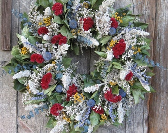 Red, White, Blue and Gold Wreath - Dried Flowers
