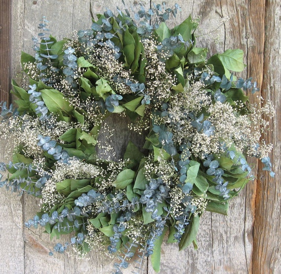 20 inch Lemon Leaf, Eucalyptus and Baby's Breath Wreath - Dried Flowers