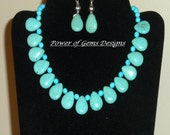 Blue turquoise, briolette, statement, big, bold, handmade, natural gemstone, silver NECKLACE / EARRINGS Set