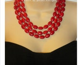 STATEMENT RED---multi-strand, red howlite, big, bold, necklace, chunky, handmade, earrings set, gift idea