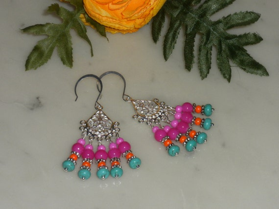RESERVED---Colorful, Multi Gemstone, Silver EARRINGSFrom powerofgems