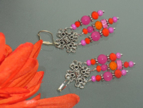 RESERVED--Fuchsia Pearls, Hot Pink, Magnesite, Bright, Neon Orange, Hand wired, Chandelier, Silver EARRINGS