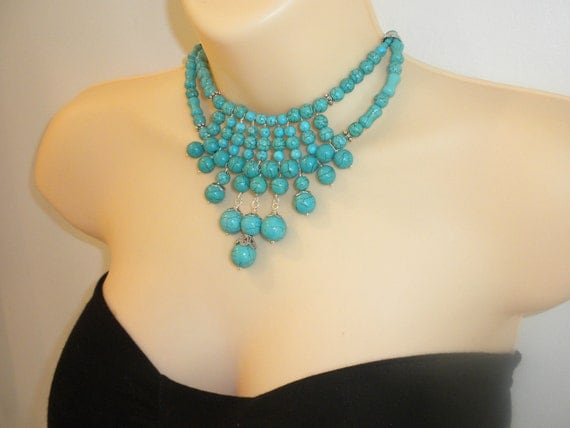 Blue turquoise, statement, big, bold, handmade, handwired, chunky, beaded, unique, chocker or longer, natural gemstone, silver necklace