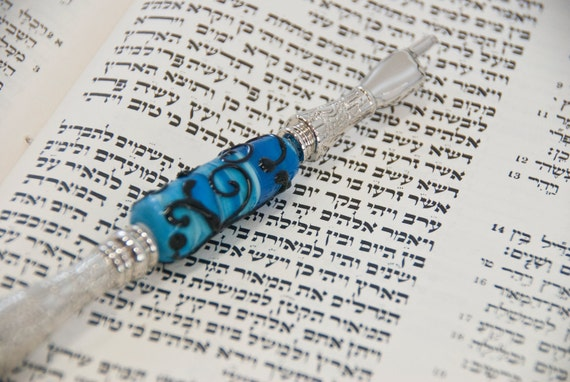 One of a Kind Ornamented Torah Pointer YAD with a Handmade Glass Bead - A Perfect Bar/Bat Mitzvah Gift