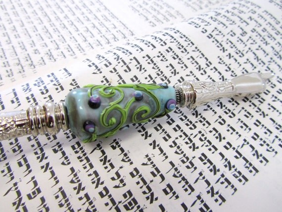 Ornamented Torah Pointer YAD With a Handmade Glass Bead - A Perfect Bar/Bat Mitzvah Gift