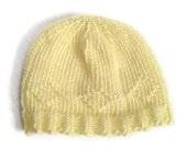 Baby Hat Pale Yellow Handknit in Diamond Pattern