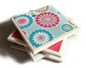 Ceramic Tile Coasters Set of Four Felt Backing Hot Pink Spring Flowers