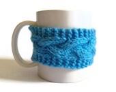 Blue Mug Cozy Coffee Cozy Coffee Sleeve Cup Cozy Cable Knit