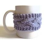 Mug Cozy Coffee Cozy Coffee Sleeve Cup Cozy Cable Knit in Lilac