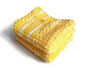 Dishcloth Vegan Washcloth Yellow and White Multicolored Handknit Set of Two
