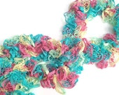CLEARANCE Ruffle Scarf in Blue Pink and Yellow