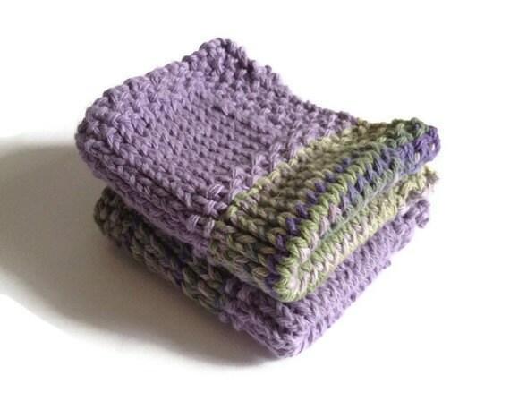 Dishcloth Vegan Washcloth Purple and Green Multicolored Handknit Set of Two