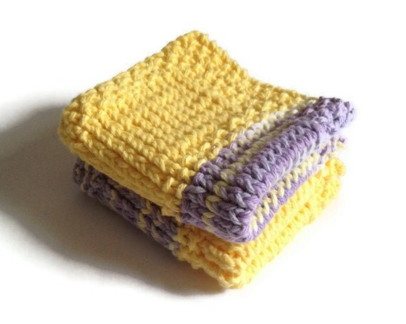 Dishcloth Vegan Washcloth Yellow Purple Multicolored Handknit Set of Two