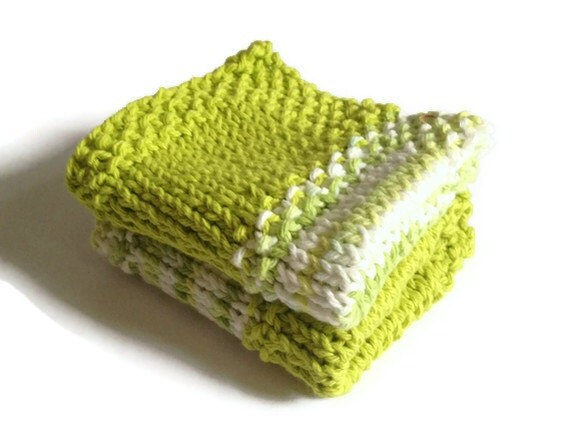 Dishcloth Vegan Washcloth Lime Green and Multicolored Handknit Set of Two