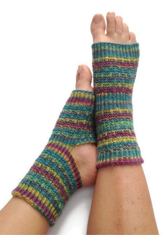 Yoga Pedicure Socks in Purple Blue and Green Stripes Hand Knit Toeless Pilates Dance