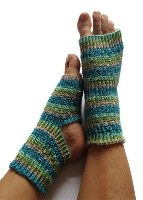 Yoga Pedicure Socks in Blue and Green Stripes Hand Knit Toeless Pilates Dance