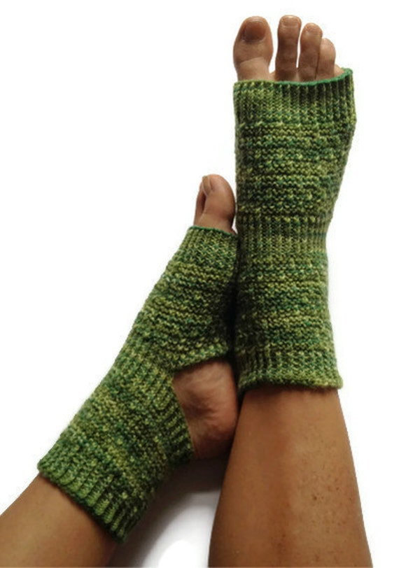 Yoga Socks Hand Knit in Shades of Green Pedicure Pilates Dance