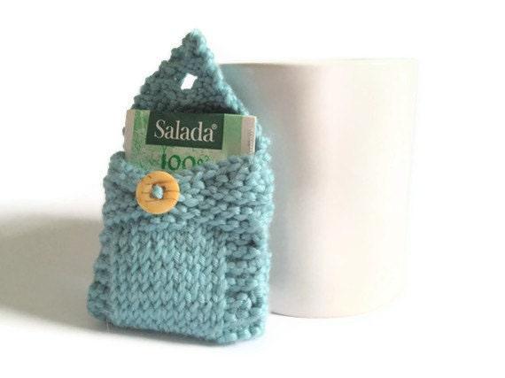 Tea Tote Tea Holder Tea Bag Purse in Pale Blue Handknit