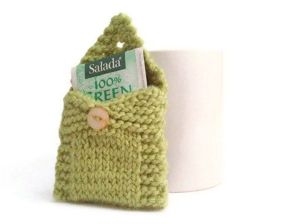 Tea Tote Tea Holder Tea Bag Purse in Green Handknit