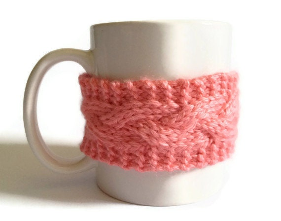 Pink Mug Cozy Strawberry Coffee Cozy Coffee Sleeve Cup Cozy Cable Knit
