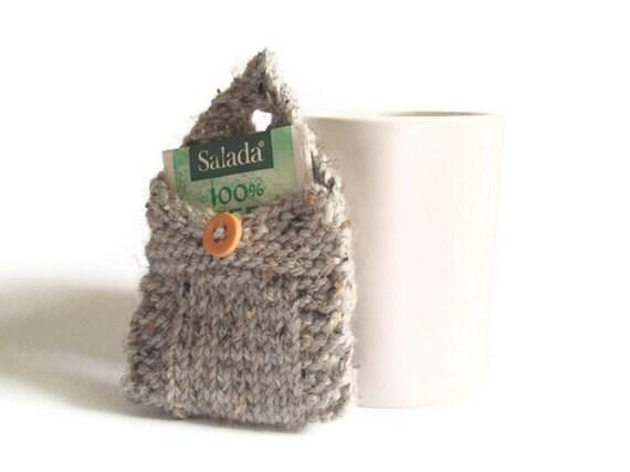 Tea Tote Tea Holder Tea Bag Purse in Grey Marble Handknit