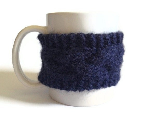 Mug Cozy Coffee Cozy Coffee Sleeve Cup Cozy Cable Knit in Navy Blue