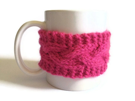 Mug Cozy Coffee Cozy Coffee Sleeve Cup Cozy Cable Knit in Pink