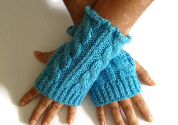 Fingerless Gloves Wrist Warmers in Blue Cable Handknit