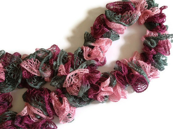 CLEARANCE Ruffle Scarf in Pink and Gray Sparkly Fashion Airy Delicate Hand Knit
