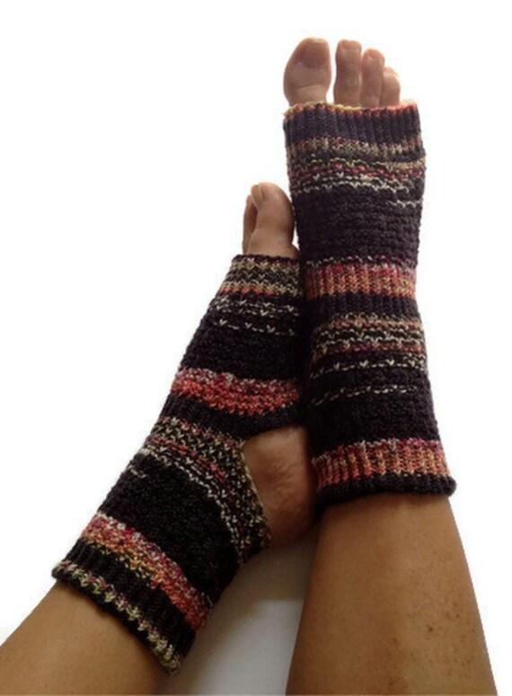 Toeless Yoga Socks Hand Knit in Blackjack by MadebyMegShop on Etsy