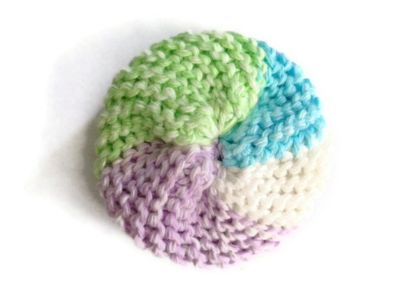 Dish Scrubbie Spiral in Green Blue Purple and White Tribble Tawashi
