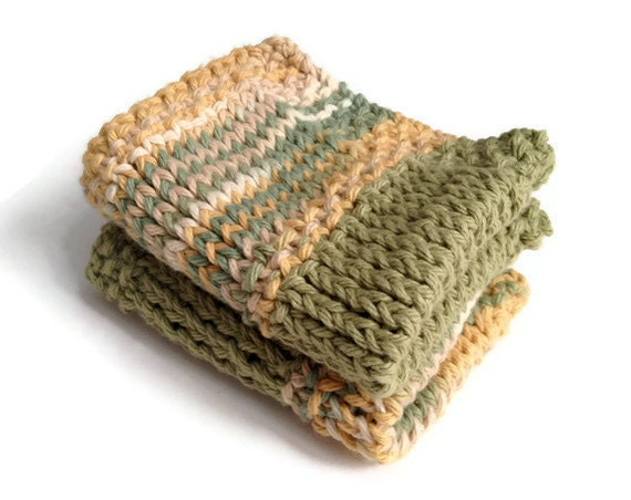 Dishcloth Vegan Washcloth Beige and Green Multicolored Handknit Set of Two