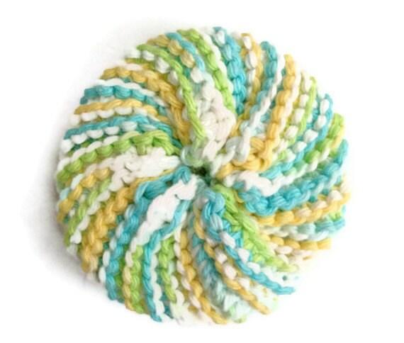 Dish Scrubbie Vegan Spiral in Blue Green and Yellow Tribble Tawashi