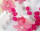 Hot pink flower necklace, Mother's Day, Romantic jewelry, spring and summer jewelry