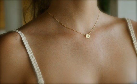 Reserved for MARIANNA - 4 x Four Leaf Clover Necklace Gold